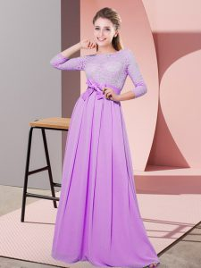 Deluxe Chiffon Scoop 3 4 Length Sleeve Side Zipper Lace and Belt Quinceanera Court Dresses in Lilac