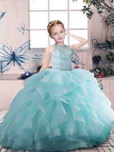 Classical Organza Sleeveless Floor Length Little Girls Pageant Dress Wholesale and Beading and Ruffles