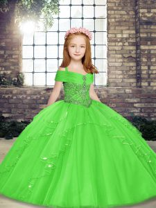 Cute Floor Length Lace Up Child Pageant Dress for Party and Sweet 16 and Wedding Party with Beading