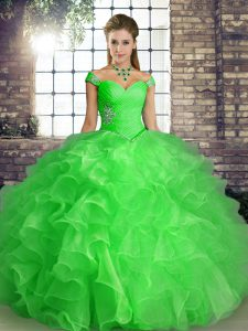 Latest Green Ball Gowns Beading and Ruffles Sweet 16 Dress Lace Up Organza Sleeveless Floor Length