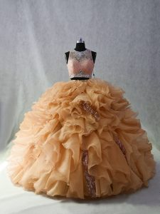Champagne Sleeveless Organza Brush Train Zipper 15th Birthday Dress for Sweet 16 and Quinceanera