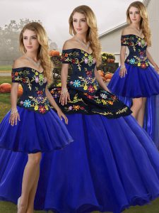 Most Popular Royal Blue Tulle Lace Up Sweet 16 Quinceanera Dress Sleeveless Floor Length Embroidery