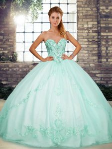 Apple Green Sweetheart Neckline Beading and Embroidery Ball Gown Prom Dress Sleeveless Lace Up