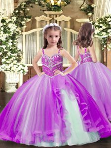 Floor Length Purple Little Girls Pageant Dress Spaghetti Straps Sleeveless Lace Up