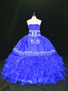 Eye-catching Blue 15 Quinceanera Dress Sweet 16 and Quinceanera with Embroidery and Ruffles Strapless Sleeveless Lace Up