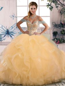 Gold Off The Shoulder Lace Up Beading Vestidos de Quinceanera Sleeveless