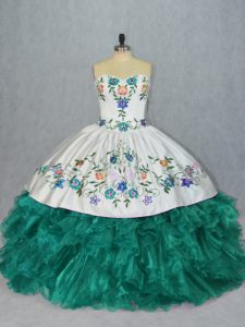 Customized Floor Length Lace Up Quinceanera Gown Turquoise for Sweet 16 and Quinceanera with Embroidery and Ruffles