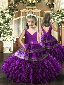 Exquisite Eggplant Purple Backless Child Pageant Dress Beading and Appliques and Ruffles and Ruching Sleeveless Floor Length