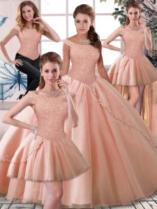 Admirable Sleeveless Tulle Brush Train Lace Up 15 Quinceanera Dress in Peach with Beading