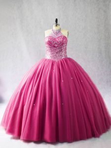 Beauteous Hot Pink Halter Top Neckline Beading Sweet 16 Quinceanera Dress Sleeveless Lace Up