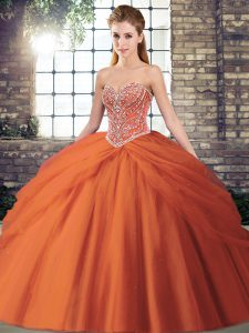 Colorful Orange Red Ball Gowns Tulle Sweetheart Sleeveless Beading and Pick Ups Lace Up Quinceanera Gowns Brush Train