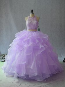 Lavender 15 Quinceanera Dress Halter Top Sleeveless Backless