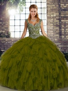Olive Green Lace Up Straps Beading and Ruffles Sweet 16 Dresses Organza Sleeveless