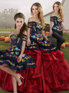 Sleeveless Floor Length Embroidery and Ruffles Lace Up Quinceanera Dresses with Red And Black