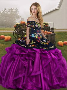 Black And Purple Sweet 16 Quinceanera Dress Military Ball and Sweet 16 and Quinceanera with Embroidery and Ruffles Off The Shoulder Sleeveless Lace Up