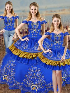 Blue Ball Gowns Embroidery Sweet 16 Dress Lace Up Satin Sleeveless
