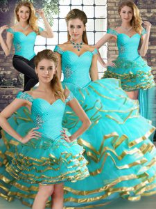 Unique Aqua Blue Off The Shoulder Neckline Beading and Ruffled Layers Quinceanera Gowns Sleeveless Lace Up