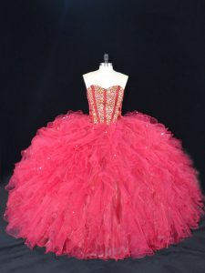 Coral Red Vestidos de Quinceanera Sweet 16 and Quinceanera with Beading and Ruffles Sweetheart Sleeveless Lace Up