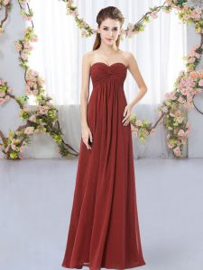 Rust Red Sleeveless Ruching Floor Length Dama Dress
