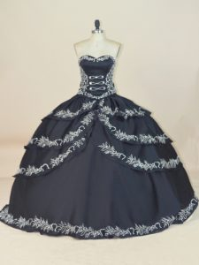 Satin Sleeveless Floor Length Sweet 16 Dress and Embroidery