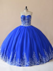Fashion Sleeveless Lace Up Floor Length Embroidery Ball Gown Prom Dress