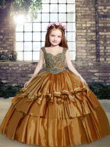 Sleeveless Taffeta Floor Length Lace Up Little Girl Pageant Dress in Brown with Beading