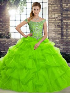 Glamorous Off The Shoulder Sleeveless Brush Train Lace Up 15 Quinceanera Dress Tulle