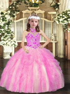 Custom Made Lilac Sleeveless Tulle Lace Up Little Girls Pageant Dress for Party and Sweet 16 and Wedding Party