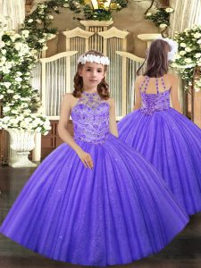 Lavender Halter Top Lace Up Beading and Ruffles Kids Formal Wear Sleeveless