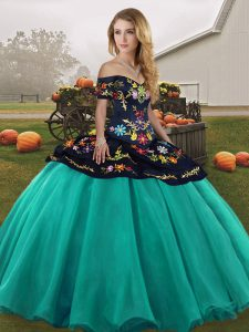 Edgy Off The Shoulder Sleeveless Lace Up Quinceanera Dresses Turquoise Tulle