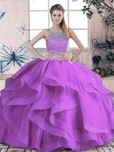 Fashionable Purple Sweet 16 Dresses Sweet 16 and Quinceanera with Beading and Lace and Ruffles Scoop Sleeveless Lace Up