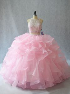 Beauteous Baby Pink Two Pieces Halter Top Sleeveless Organza Brush Train Backless Beading and Ruffles Sweet 16 Quinceanera Dress