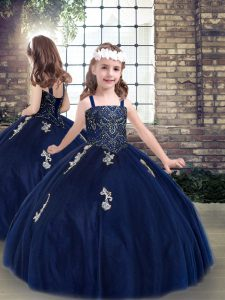 Nice Navy Blue Ball Gowns Beading and Appliques Little Girl Pageant Gowns Lace Up Tulle Sleeveless Floor Length