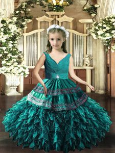 Teal V-neck Backless Beading and Appliques and Ruffles Little Girl Pageant Dress Sleeveless