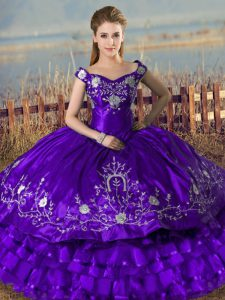 Custom Fit Sleeveless Floor Length Embroidery and Ruffled Layers Lace Up Sweet 16 Quinceanera Dress with Purple