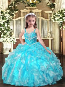 Enchanting Organza Straps Sleeveless Lace Up Beading and Ruffles Girls Pageant Dresses in Aqua Blue