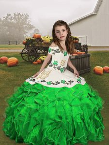 Glorious Straps Sleeveless Lace Up Kids Pageant Dress Green Organza