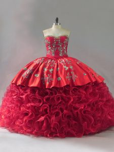 Traditional Red Quinceanera Gowns Sweetheart Sleeveless Brush Train Lace Up