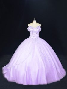 Tulle Sleeveless Sweet 16 Dresses Court Train and Beading