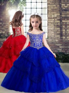 Royal Blue Sleeveless Beading and Appliques Floor Length Little Girls Pageant Dress Wholesale