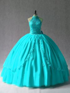 Glorious Ball Gowns Quinceanera Gown Aqua Blue Halter Top Tulle Sleeveless Floor Length Lace Up