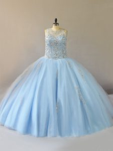 Floor Length Ball Gowns Sleeveless Light Blue Teens Party Dress Lace Up
