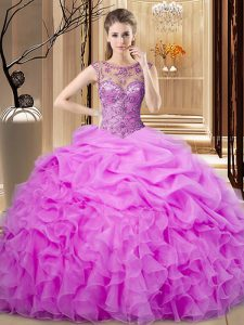 Fine Floor Length Ball Gowns Sleeveless Lilac Sweet 16 Dress Lace Up