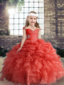 Popular Coral Red Straps Lace Up Beading and Ruffles and Pick Ups Pageant Gowns For Girls Sleeveless