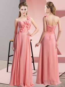 Watermelon Red Sleeveless Floor Length Hand Made Flower Lace Up Damas Dress