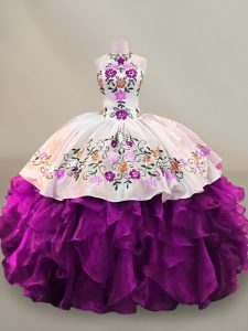 Floor Length Purple Vestidos de Quinceanera Organza Sleeveless Embroidery