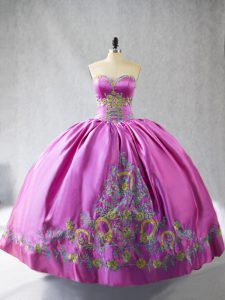 Rose Pink Lace Up Sweetheart Embroidery Sweet 16 Quinceanera Dress Satin Sleeveless