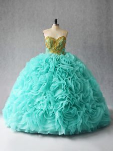 Traditional Aqua Blue Sweet 16 Quinceanera Dress Sweet 16 and Quinceanera with Beading and Ruffles Sweetheart Sleeveless Court Train Lace Up