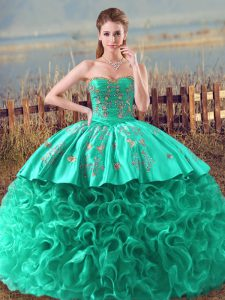 New Style Turquoise Ball Gowns Embroidery and Ruffles Sweet 16 Dress Lace Up Fabric With Rolling Flowers Sleeveless