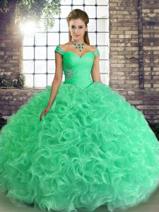 Off The Shoulder Sleeveless Lace Up Quinceanera Gown Turquoise Fabric With Rolling Flowers